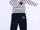 2015年新款 淘宝热销款海军风纯棉套装 圆领儿童卫衣 厂家直销
