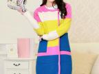 2014春装新款 韩版女装代购拼色格子针织开衫撞色中长款毛衣外套