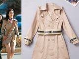 欧洲站2014秋冬女装新款 明星街拍同款 荷叶边配腰带中长款风衣