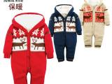 欧美品牌外贸原单秋冬新款圣诞麋鹿婴童装加厚连体衣爬服1件起批