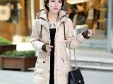 棉衣女中长款2015年冬装新款韩版加厚棉衣女修身连帽女式棉服批发