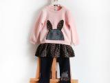 外贸原单热销女童卡通小兔贴布休闲套装 假两件套童拼接女童套装
