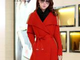 2111冬季新款女装OL通勤针织衫修身大翻领中长款外套开衫 配腰