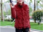 2014冬季新款韩版高档女装高领修身保暖真兔毛拼接短款长袖棉衣女