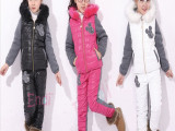 冬款童装儿童运动卫衣/冬款女童羽绒服两件套/新款加厚棉衣批发