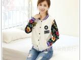 厂家直销2014秋季新款韩版潮款女式外套贴布斜纹棉拼接棒球服批发
