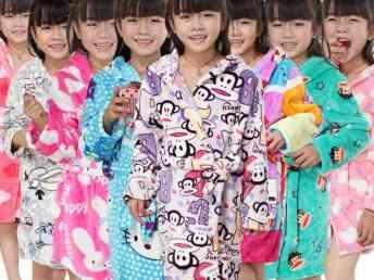 外贸韩版品牌童装 秋冬卡通家居服睡袍 儿童法兰绒睡袍批发