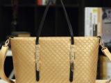 2013新款欧美时尚复古土豪金菱格休闲大包女士单肩包手提女包包潮