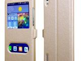 新款魅族MX3手机皮套 智能双开窗支架手机套 蚕丝纹手机保护套