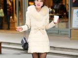 2014秋冬新款韩版白鸭绒狐狸毛领  羽绒服中长款女大毛领棉服