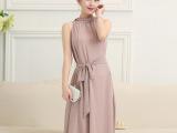 波西米亚无袖雪纺收腰大摆长裙 2015夏季新款韩版修身显瘦连衣裙