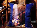 吉祥家 新中式抱枕套[粉墙黛瓦]工笔人物沙发夏大靠枕靠垫 60c