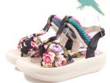 碎花厚底凉鞋夏天大童小学生中学生少女度假沙滩女鞋子遥遥鞋淑女