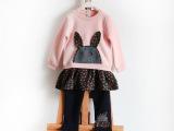 外贸原单童装 女童卡通小兔贴布休闲套装 假两件套童拼接女童套装