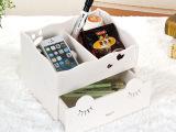 韩国创意DIY护肤品化妆品收纳盒 木质抽屉式办公桌面整理盒储物盒