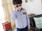 2015新款冬季童装儿童羽绒服男童中大童衬衫领羽绒外套
