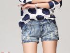 全网独家**新款 女式牛仔短裤女 韩版中腰褶皱磨破薄款牛仔短裤