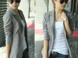 2014秋装韩版 时尚 条纹内衬简约 中长款 修身小西装 西服外