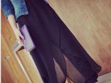 2015夏季新款女装 韩版宽松雪纺哈伦裤 大码黑纱拼接休闲裤