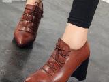 2014秋冬新款女鞋高跟粗跟女单鞋尖头系带深口单鞋时尚欧美女鞋潮