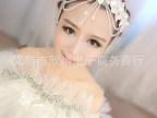 韩版新娘手工水晶珠串流苏发饰额饰结婚蕾丝花朵珍珠头饰婚纱饰品