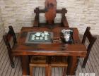 韶关市老船木茶桌椅子仿古茶台实木沙发茶几餐桌办公桌家具博古架