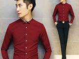 厂家外贸 2015春款休闲男装纯色长袖衬