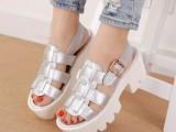 批发一件代发代理韩版鱼嘴罗马编织扣带粗跟厚底凉鞋女鞋子