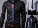 男装外贸批发 淘宝爆款 暗纹菱格男士长袖衬衫 韩版修身款衬衣男