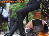 实拍2014秋冬款加绒高腰牛仔裤保暖显瘦小脚铅笔长裤大码女裤