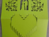 北京纸张镂空图案 创意婚礼请柬 立体效果