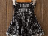 厂家直销洪合秋冬新款韩版大码针织半身短裙千鸟格高腰针织伞裙女