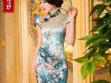 8542贝佳斯旗袍批发厂家直销 桑蚕丝真丝旗袍改良时尚中国风复古
