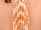 2014春夏韩版新款女装橙爱心沙滩裙不规则百褶半身裙中长裙子夏女
