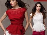 2014夏季新款欧美大码修身雪纺衫短袖蕾丝雪纺衬衫系带打底衫上衣