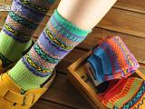 日民族风 全棉加厚毛线袜 堆堆袜子 中统 短袜子 男女袜子全棉