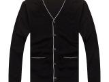 2014秋季新款纯棉V领长袖开衫针织衫男薄大码纯色丝光棉MS09