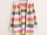 春新款韩版女中长款拼色条纹无扣长袖针织开衫外套0217