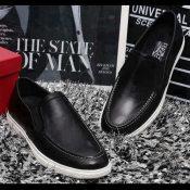 15欧美大牌春夏新款男鞋纯色牛皮休闲套脚单鞋微信一件代发批发