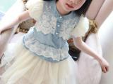 童装女短袖淑女连衣裙2014夏季网纱新款儿童品牌牛仔裙一件件代发