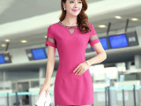 新款高端连衣裙夏季女装韩版拼接性感网纱拼接连衣裙短袖纯色