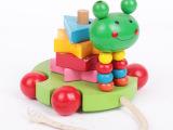 六一热卖创意早教益智学步卡通可爱儿童拉拉车玩具 积木玩具批发