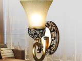 欧式卧室铁艺树脂床头灯具餐厅玻璃灯罩灯饰简约单头壁灯