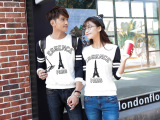 实拍2015情侣装春装韩版女装宽松印花长袖大码打底衫T恤潮