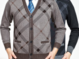恒源祥男士羊绒衫秋冬款正品v领加厚开衫毛衣中老年爸爸装羊毛衫