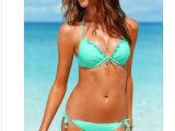 维多利牙的秘密 比基尼泳衣 钢托聚拢 木耳边性感 bikini