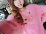 【秋冬爆款】经典长毛貂绒圆领套头毛衣 短款貂绒衫针织女式毛衣
