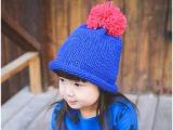 14秋冬韩国进口宝宝帽子毛线帽儿童套头保暖帽针织冷帽彩色大球