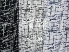 米兰麻印花布料 黑白蓝不规则图案 衣衫裙花布 现货批发雪纺布料