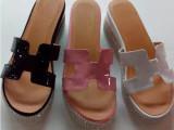 2014年新款牛漆皮女拖鞋松糕厚底水钻装饰简约拖鞋中跟舒适凉拖